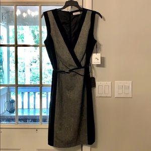 Calvin Klein NWT belted career v neck dress